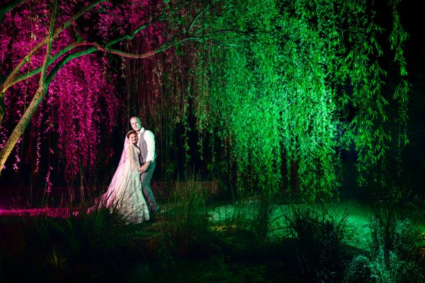 Bride and Groom under the pink and green weeping willow, Coldwater Gardens, Rustic Fairy Tale Wedding, Lazzat Photography