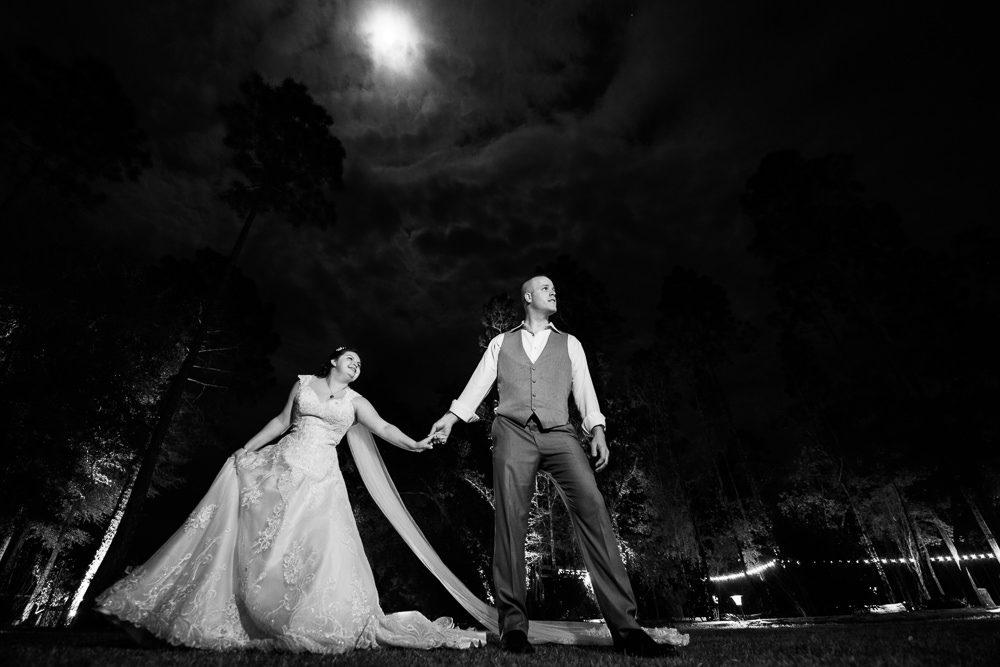 Groom leading Bride at night, black and white wedding photography, Coldwater Gardens, Rustic Fairy Tale Wedding, Lazzat Photography