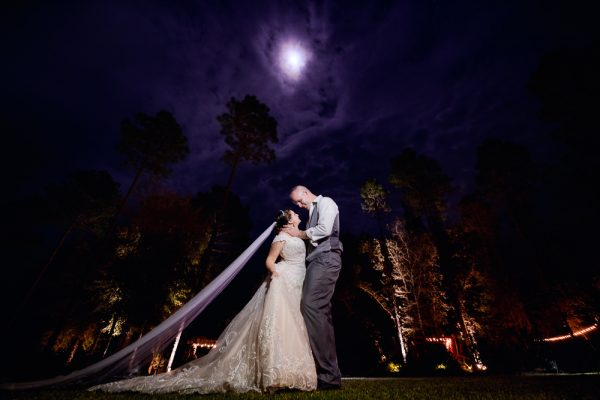 Bride and Groom lookin at each other in epic night photo, Coldwater Gardens, Rustic Fairy Tale Wedding, Lazzat Photography