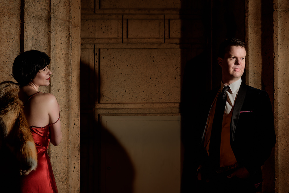 Natalie looking at Crockett and Crockett looking away during the Epic Couple's Session at Palace of Fine Arts in San Francisco | Lazzat Photography