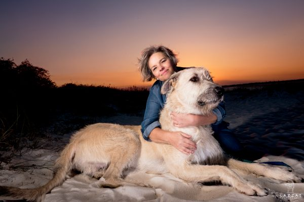 Irish Wolfhound with mom on the Fort Pickens beach at sunset during Epic Dog Photo Session in Florida, Lazzat Photography