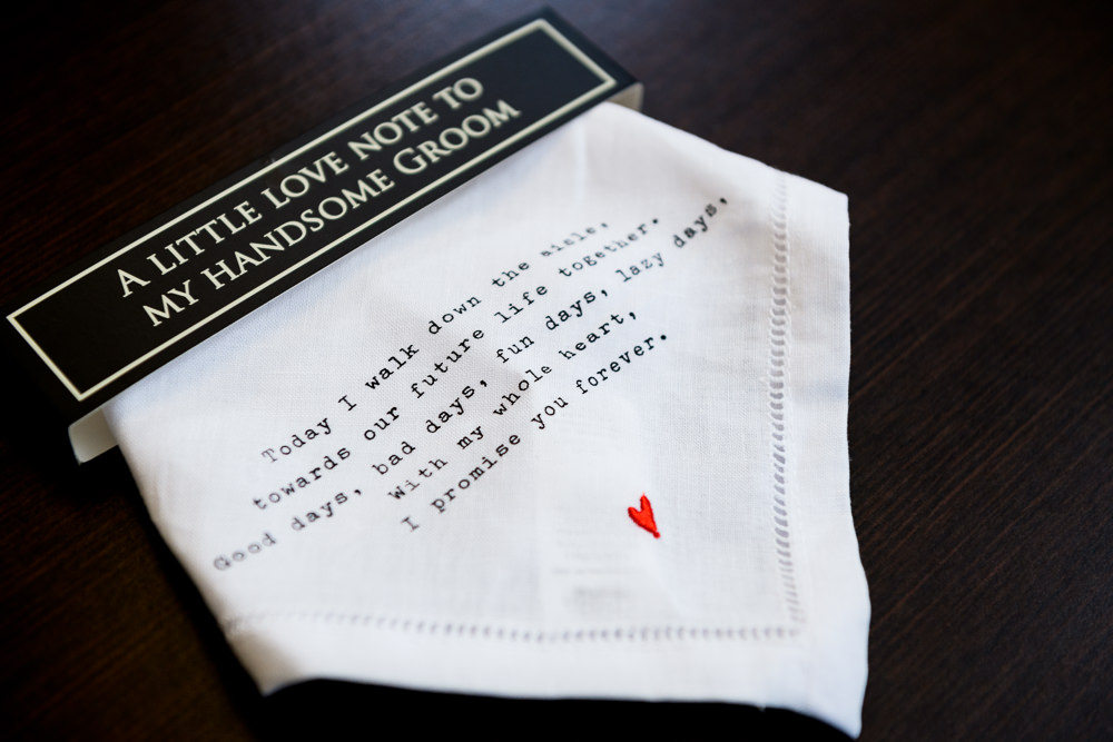 """Bride's gift to her Groom """"A little love note to my handsome groom"""" handkerchief, Fort Walton Beach, Fort Walton Yacht Club, Florida Wedding, Lazzat Photography"""