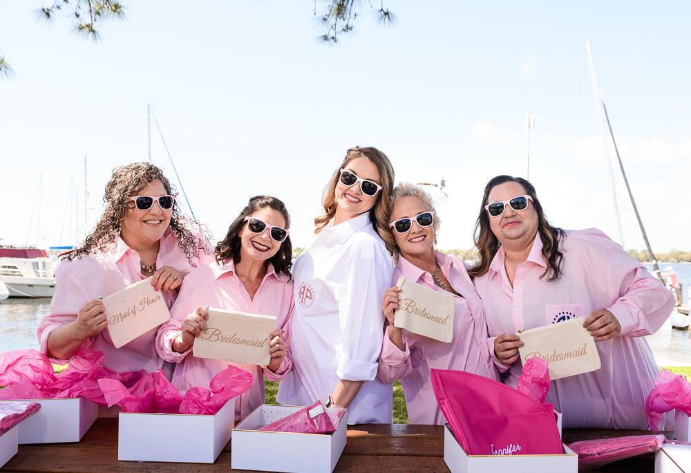 Bride giving her bridesmaids gifts, Rustic Waterfront Wedding, Fort Walton Beach, Fort Walton Yacht Club, Florida Wedding, Lazzat Photography