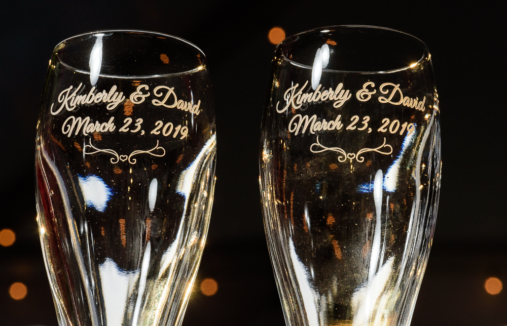 Bride and Groom's champaign glasses with their names and the date on them at the Rails on Wright Street, Classic Red and White Wedding, Lazzat Photography, wedding photography, wedding photographer