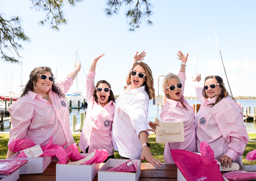 Bride and Bridesmaids cheering, Rustic Waterfront Wedding, Fort Walton Beach, Fort Walton Yacht Club, Florida Wedding, Lazzat Photography
