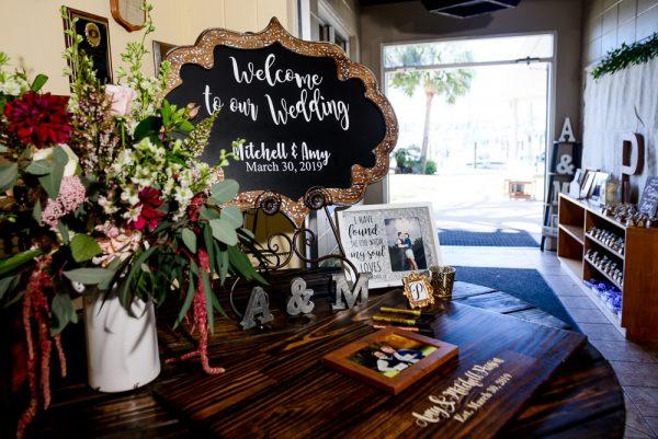 Wedding welcome sign, Rustic Waterfront Wedding, Fort Walton Beach, Fort Walton Yacht Club, Florida Wedding, Lazzat Photography