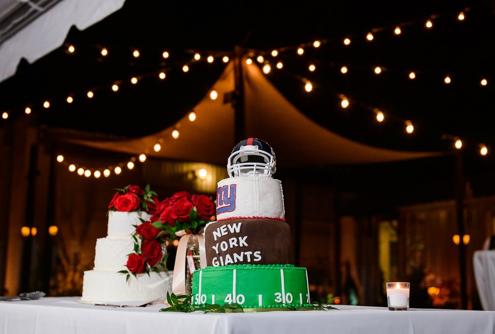 White wedding cake and New York Giants Groom's cake at the reception at the Rails on Wright Street, Classic Red and White Wedding, Lazzat Photography, wedding photography, wedding photographer