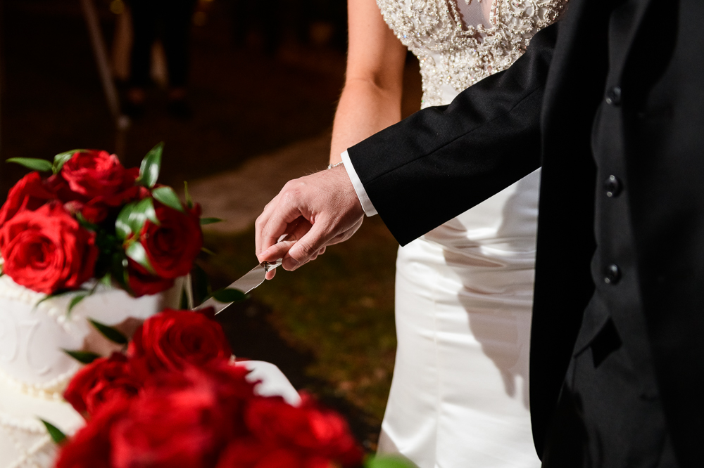 Close up of Bride and Groom cutting their wedding cake at the reception at the Rails on Wright Street, Classic Red and White Wedding, Lazzat Photography, wedding photography, wedding photographer