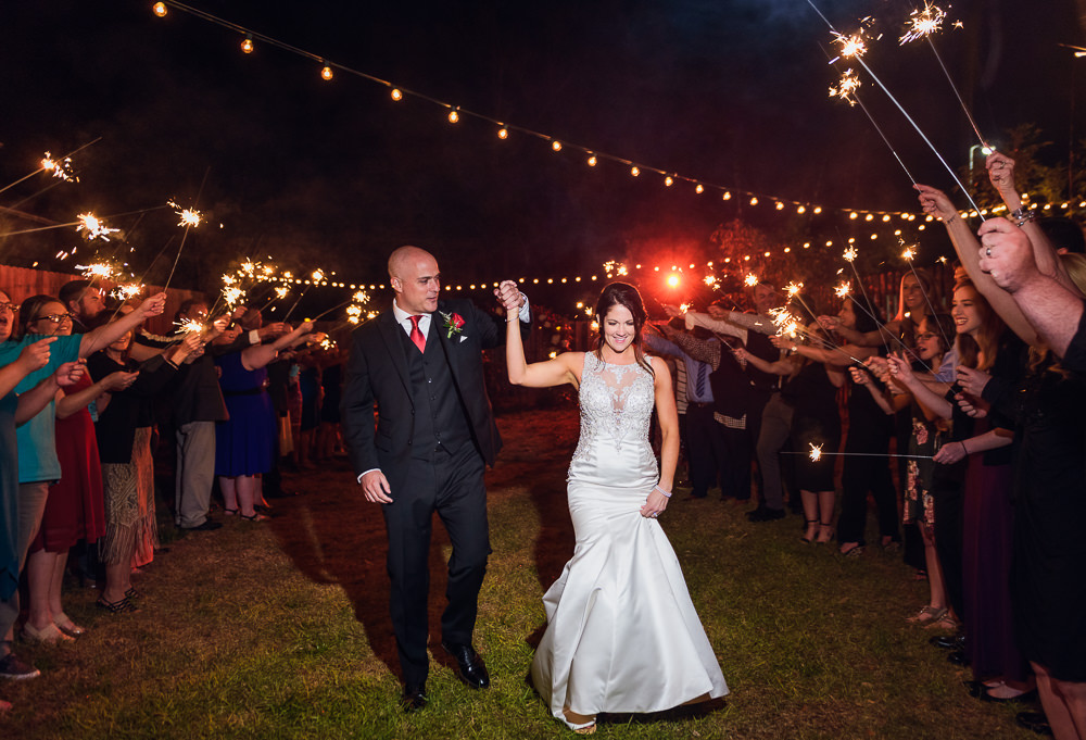 Bride and Groom's sparkler exit at the Rails on Wright Street at night, Classic Red and White Wedding, Lazzat Photography, wedding photography, wedding photographer