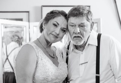 Bride with her dad in black and white, Rustic Waterfront Wedding, Fort Walton Beach, Fort Walton Yacht Club, Florida Wedding, Lazzat Photography