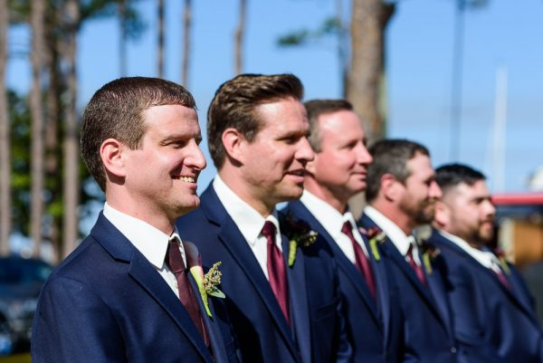 Groom and Groomsmen at the alter, Rustic Waterfront Wedding, Fort Walton Beach, Fort Walton Yacht Club, Florida Wedding, Lazzat Photography