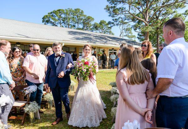 Bride and dad walking down the aisle, Rustic Waterfront Wedding, Fort Walton Beach, Fort Walton Yacht Club, Florida Wedding, Lazzat Photography