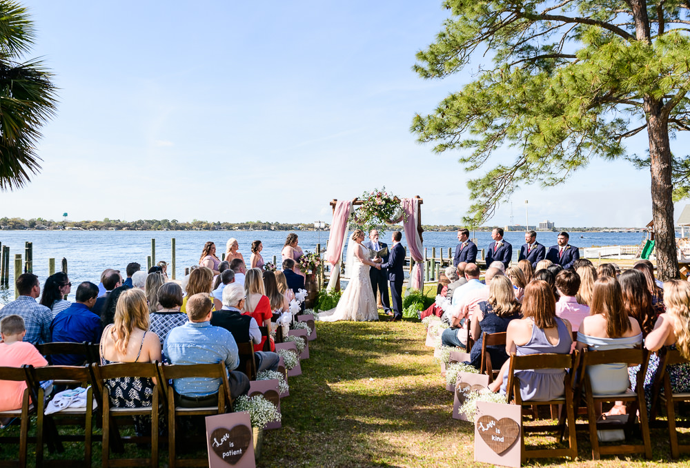 Bride and Groom at the waterfront alter, Rustic Waterfront Wedding, Fort Walton Beach, Fort Walton Yacht Club, Florida Wedding, Lazzat Photography