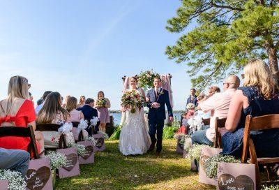 Bride and Groom walking up the aisle, Rustic Waterfront Wedding, Fort Walton Beach, Fort Walton Yacht Club, Florida Wedding, Lazzat Photography
