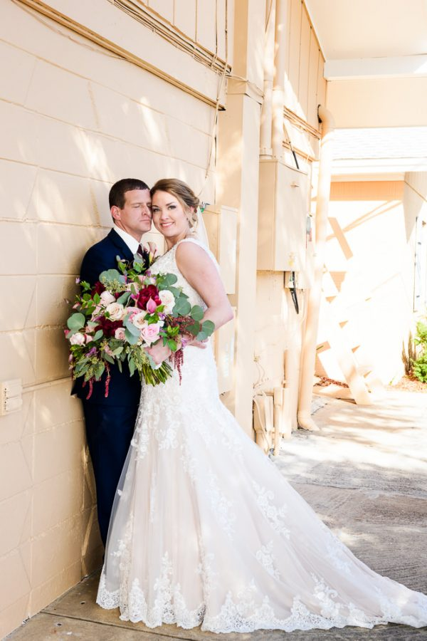 Bride and Groom having a little moment after their ceremony, Rustic Waterfront Wedding, Fort Walton Beach, Fort Walton Yacht Club, Florida Wedding, Lazzat Photography