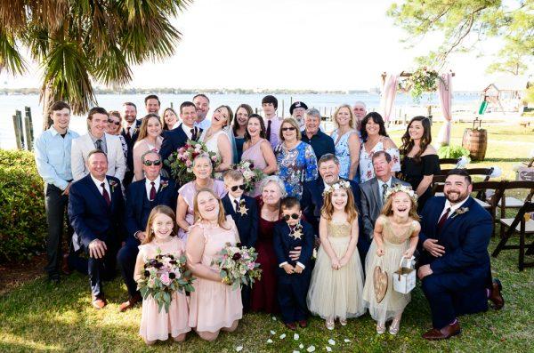 Bride and Groom family photo, Rustic Waterfront Wedding, Fort Walton Beach, Fort Walton Yacht Club, Florida Wedding, Lazzat Photography