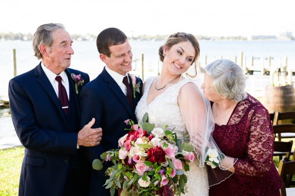 Bride and Groom with Groom's parents, Rustic Waterfront Wedding, Fort Walton Beach, Fort Walton Yacht Club, Florida Wedding, Lazzat Photography
