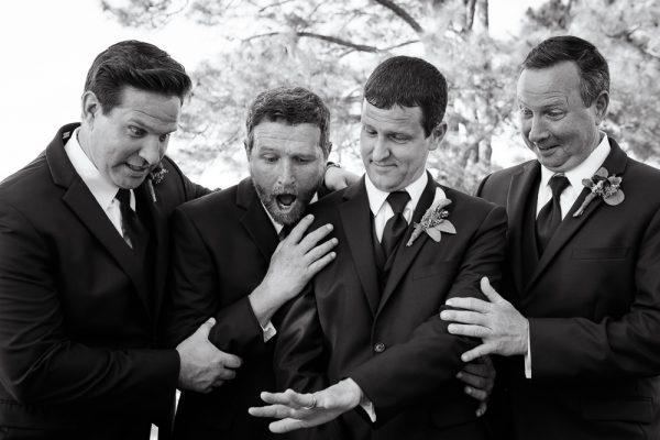 Groomsmen looking at Groom's ring, Rustic Waterfront Wedding, Fort Walton Beach, Fort Walton Yacht Club, Florida Wedding, Lazzat Photography