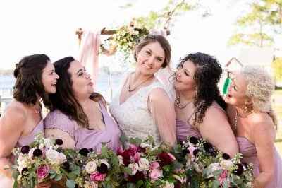 Bridesmaids looking at Bride, Fort Walton Beach, Fort Walton Yacht Club, Florida Wedding, Lazzat Photography