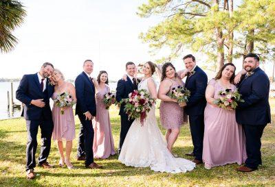 Bride and Groom with their wedding party, Fort Walton Beach, Fort Walton Yacht Club, Florida Wedding, Lazzat Photography