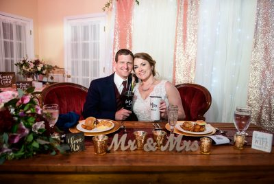 Bride and Groom at their sweetheart table, Fort Walton Beach, Fort Walton Yacht Club, Florida Wedding, Lazzat Photography