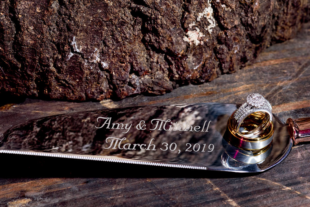 Bride and Groom's wedding bands on their personalized cake server, Fort Walton Beach, Fort Walton Yacht Club, Florida Wedding, Lazzat Photography