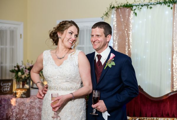Bride and Groom smiling at each other during toasts, Fort Walton Beach, Fort Walton Yacht Club, Florida Wedding, Lazzat Photography