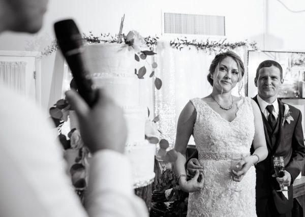 Bride and Groom listening to Best Man's toast, Fort Walton Beach, Fort Walton Yacht Club, Florida Wedding, Lazzat Photography