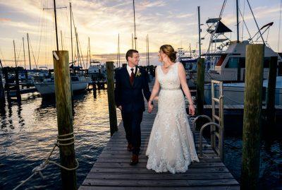 Bride and Groom walking on the pier, Fort Walton Beach, Fort Walton Yacht Club, Florida Wedding, Lazzat Photography
