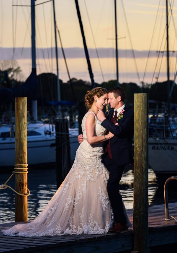 Bride and Groom smiling at each other pier, Fort Walton Beach, Fort Walton Yacht Club, Florida Wedding, Lazzat Photography