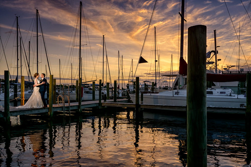 Epic sunset photo of Bride and Groom on the pier, Fort Walton Beach, Fort Walton Yacht Club, Florida Wedding, Lazzat Photography