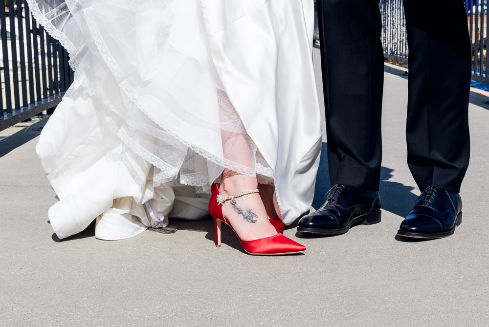 Close up of Bride's red heels, Classic Red and White Wedding, Lazzat Photography, wedding photography, wedding photographer