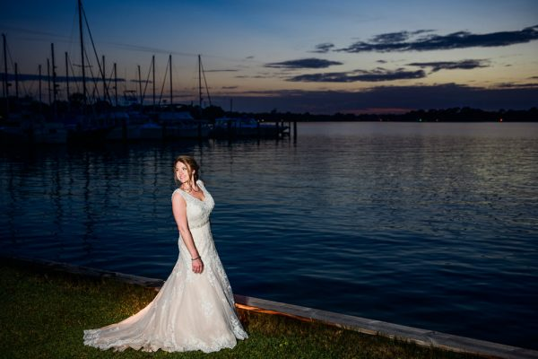 Bridal portrait by the water, Fort Walton Beach, Fort Walton Yacht Club, Florida Wedding, Lazzat Photography
