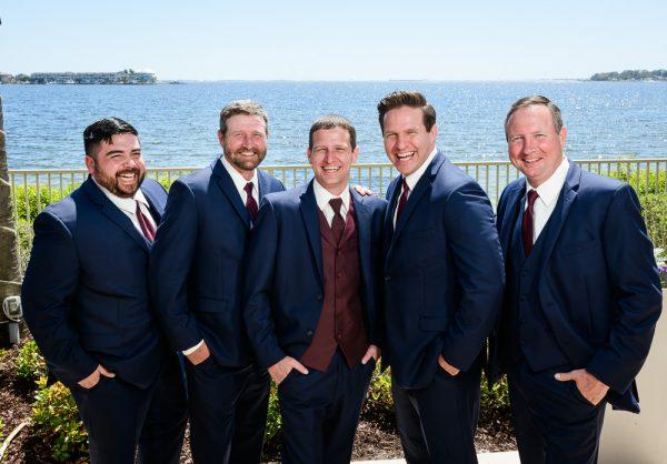 Groom and groomsmen by the water, Groom photos, Rustic Waterfront Wedding, Fort Walton Beach, Fort Walton Yacht Club, Florida Wedding, Lazzat Photography