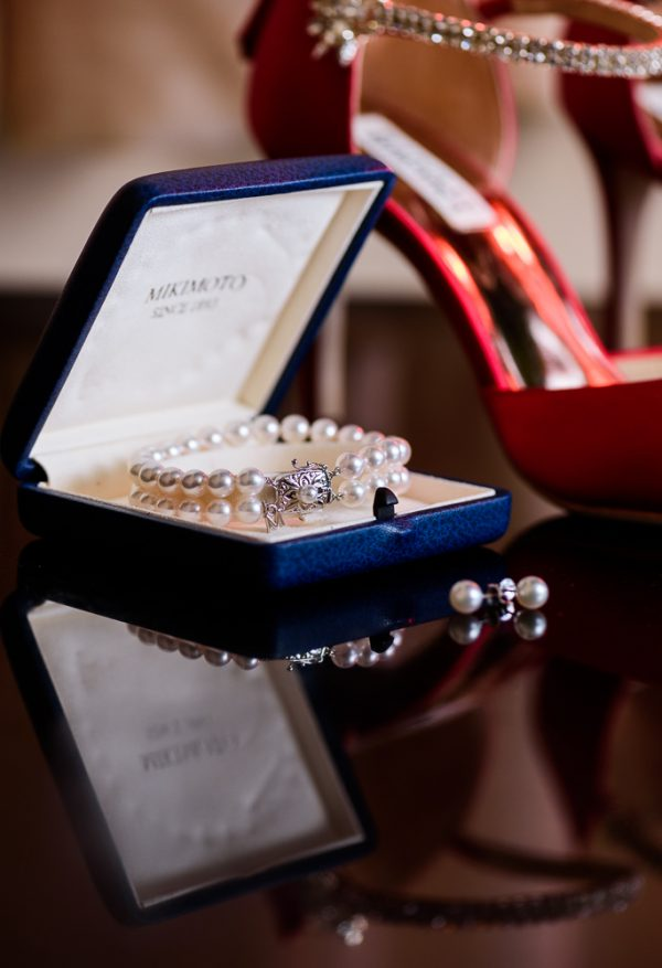 Bride's pearl bracelet and earrings in blue box, Pensacola Florida, The Pensacola Grand Hotel, Classic Red and White Wedding, Lazzat Photography