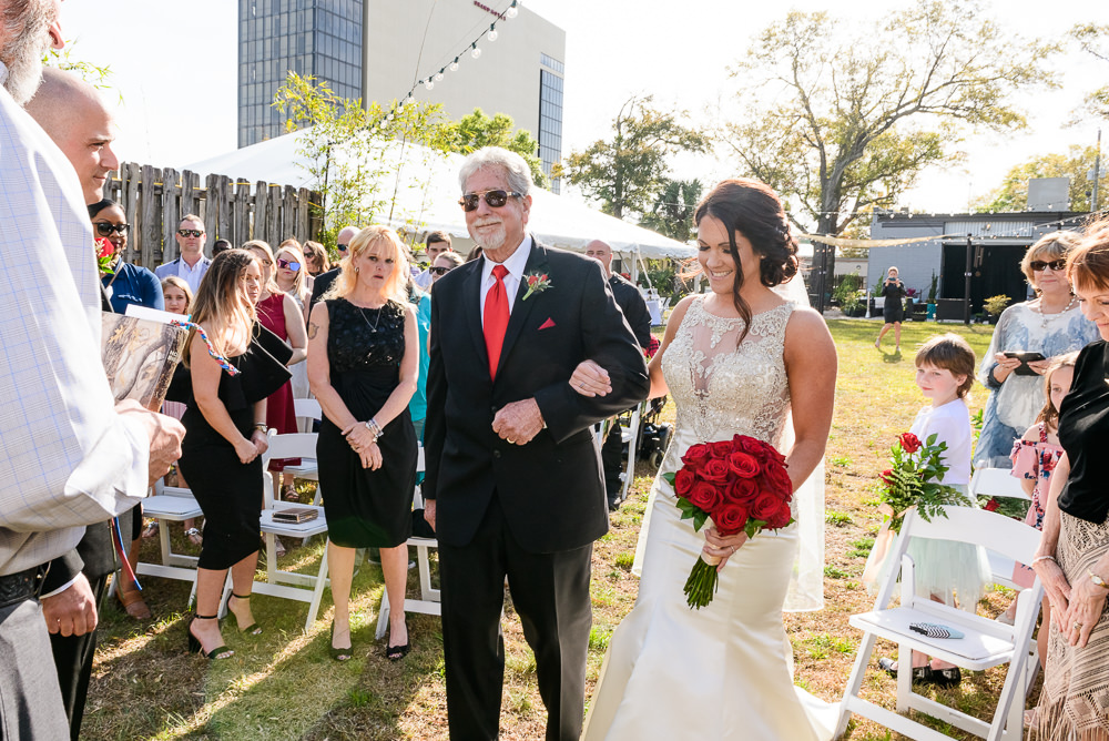 Close up of Dad and Bride at the end of the aisle, outdoor wedding ceremony at the Rails on Wright Street, Classic Red and White Wedding, Lazzat Photography, wedding photography, wedding photographer