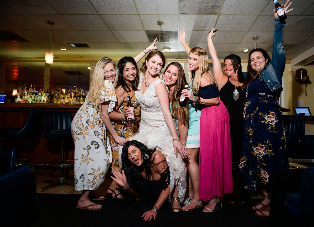 Bride with her coworkers, Fort Walton Beach, Fort Walton Yacht Club, Florida Wedding, Lazzat Photography