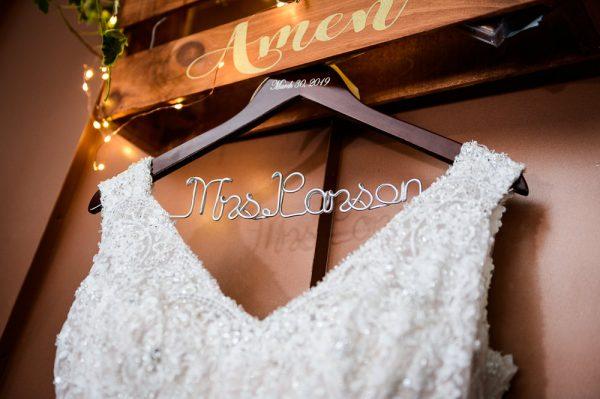 Bride's personalized wedding dress hanger, Rustic Waterfront Wedding, Fort Walton Beach, Fort Walton Yacht Club, Florida Wedding, Lazzat Photography