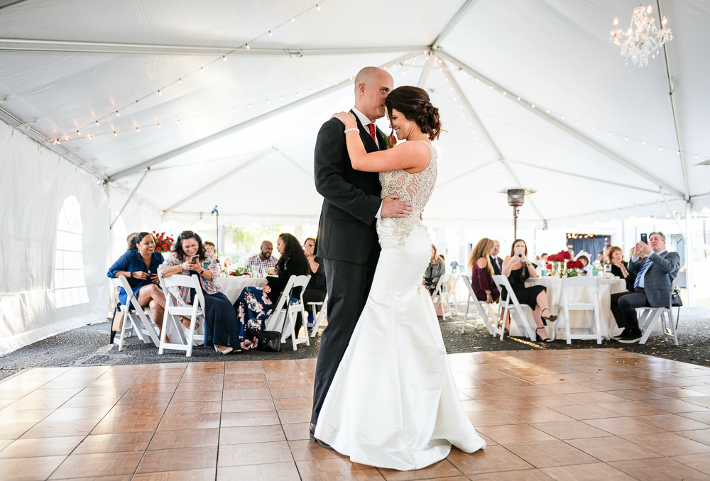 Bride and Groom's first dance at the Rails on Wright Street, Classic Red and White Wedding, Lazzat Photography, wedding photography, wedding photographer