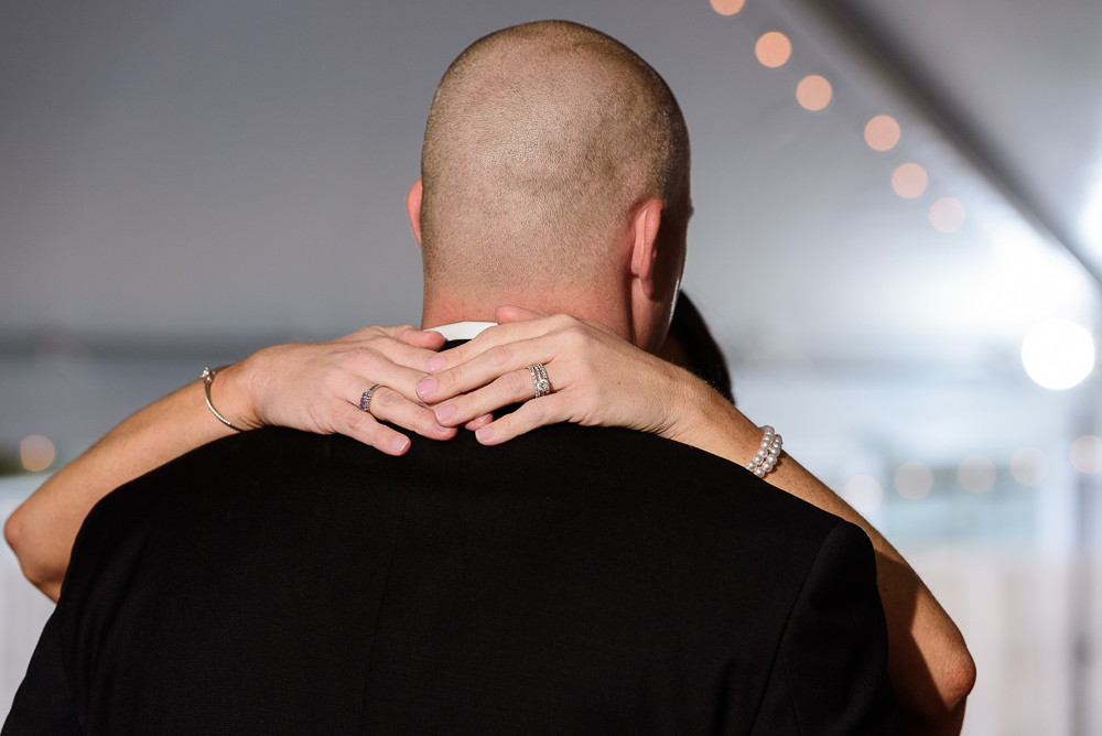 Close up of the Bride's rings during the Bride and Groom's first dance at the Rails on Wright Street, Classic Red and White Wedding, Lazzat Photography, wedding photography, wedding photographer
