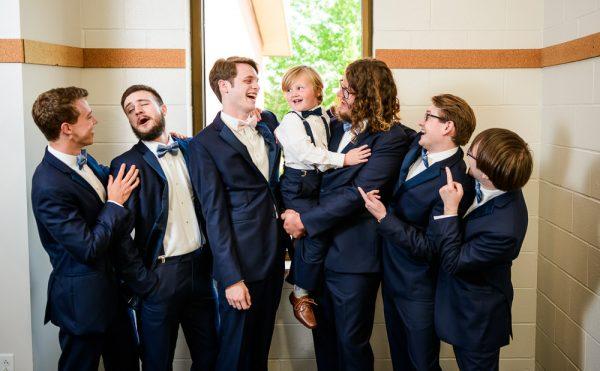 Groom and Groomsmen laughing, Romantic Catholic Wedding, Pensacola Florida Wedding Photographer, Lazzat Photography