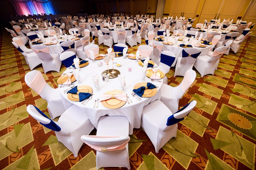 Blue and Pink Wedding inspiration, The Soundside Club, Elegant Ballroom Wedding, Lazzat Photography, Florida Wedding Photography