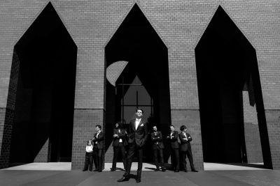 Groom and his groomsmen outside the church, black and white, Romantic Catholic Wedding, Pensacola Florida Wedding Photographer, Lazzat Photography