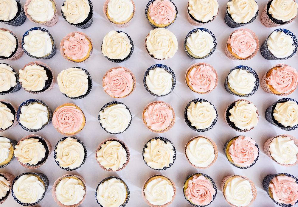 Blue and Pink Wedding cupcakes, The Soundside Club, Elegant Ballroom Wedding, Lazzat Photography, Florida Wedding Photography
