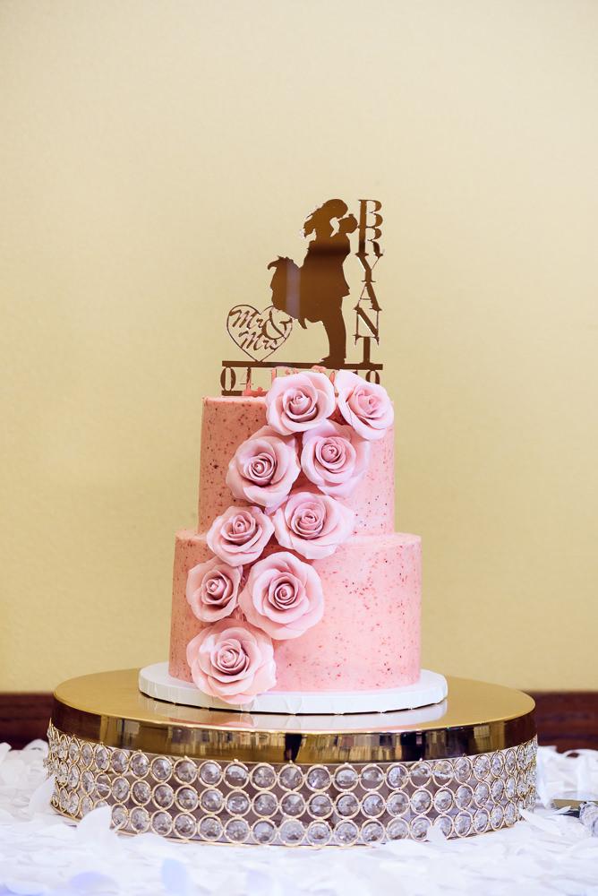 Pink wedding cake, Blue and Pink Wedding, The Soundside Club, Elegant Ballroom Wedding, Lazzat Photography, Florida Wedding Photography