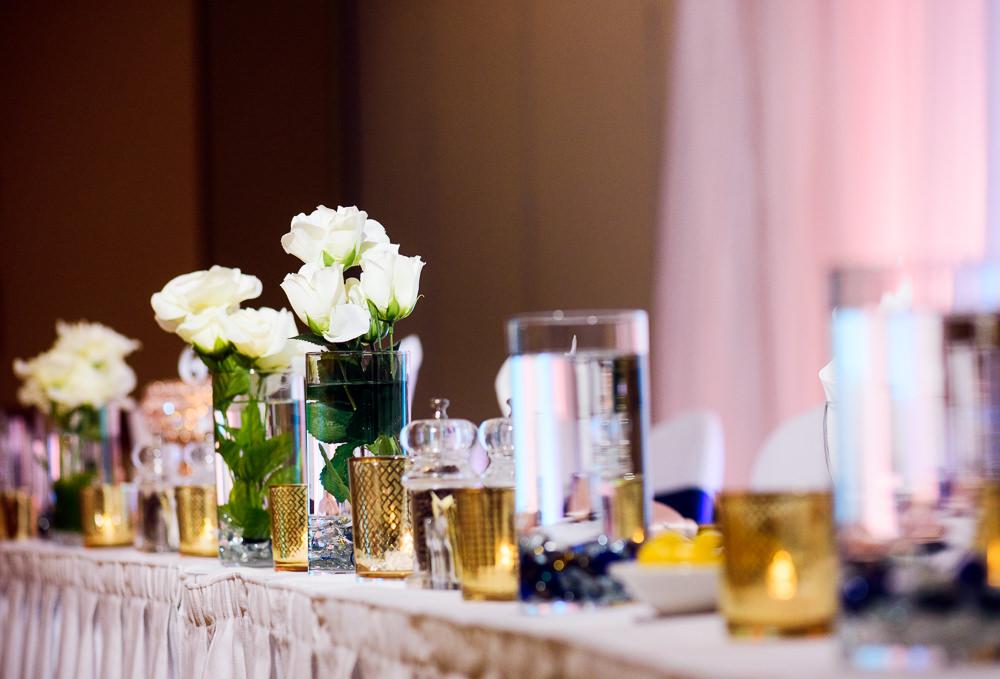 Head table details, Blue and Pink Wedding, The Soundside Club, Elegant Ballroom Wedding, Lazzat Photography, Florida Wedding Photography