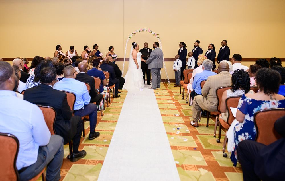 Wedding ceremony, Blue and Pink Wedding, The Soundside Club, Elegant Ballroom Wedding, Lazzat Photography, Florida Wedding Photography