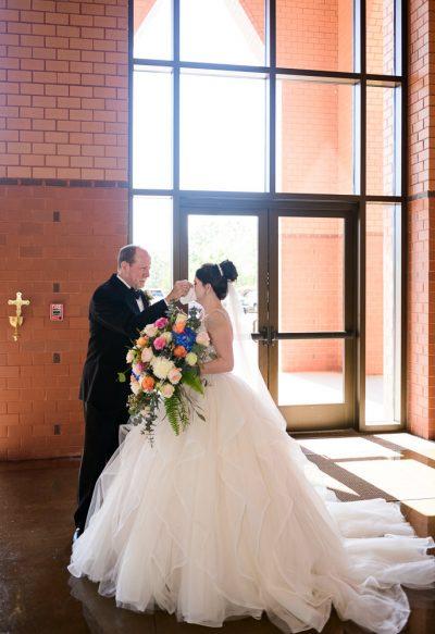 Dad wiping Bride's tears, Romantic Catholic Wedding, Pensacola Florida Wedding Photographer, Lazzat Photography