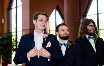 Groom seeing Bride walk down the aisle, Romantic Catholic Wedding, Pensacola Florida Wedding Photographer, Lazzat Photography