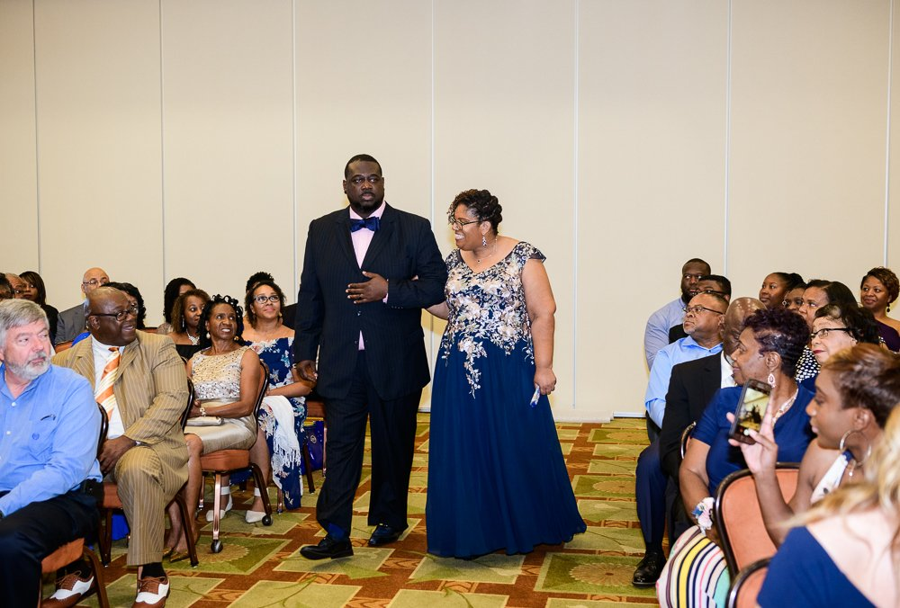 Bride's mom being walked down the aisle, Blue and Pink Wedding, The Soundside Club, Elegant Ballroom Wedding, Lazzat Photography, Florida Wedding Photography
